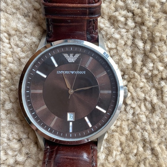 great look latest new high Armani Watch - Brown leather strap 43mm